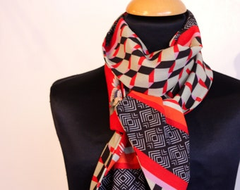 Scarf, Ascot, tie women, graphic patterns and cranes Chinese Red-Beige-black viscose crepe. Slice of wool