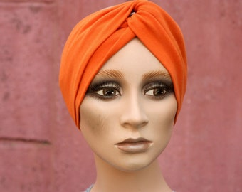 Bandeau-Turban Retro Uni Orange in Cotton Jersey . Accessories Women Hairstyle. Tartine de Laine