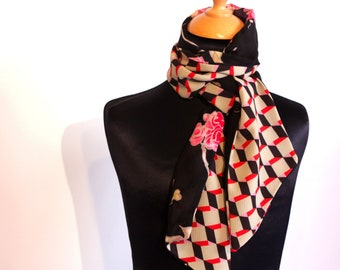 Viscose crepe scarf woman with flowers Japanese cherry and checkered graphic, pink red scarf. Vegan
