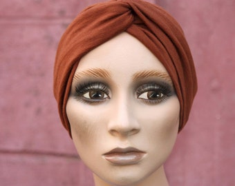 Bandeau-Turban Retro Uni Copper Brown in Jersey Cotton and Wool. Women's Hairstyle Accessories. Autumn Wool Tartine