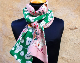 Flowers scarf green and pink Crepe de viscose, boho women scarf. Slice of wool