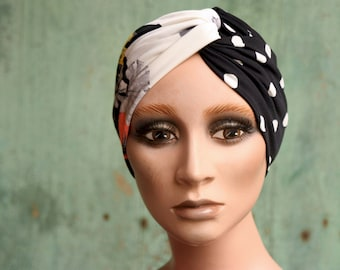 Black-White Pea and Bicolor Flower Patterned Headband. Headband original hairstyle in Lycra.