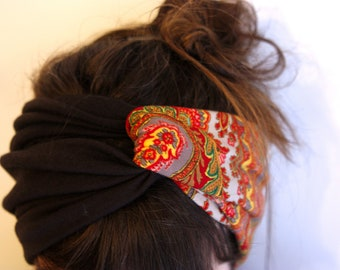 Retro two-tone Brown and Orange Turquoise Brown Cashmere headband-Turban headband. Slice of wool