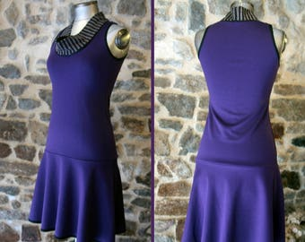 Dress collar cowl grey two-tone purple Heather small hearts dusty Rose.  Dress size 38 Retro bread wool