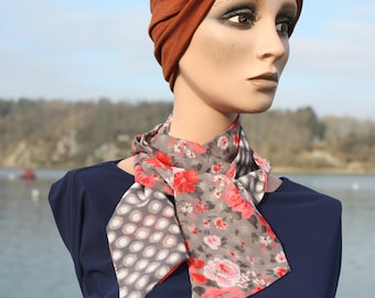 Women's scarf with pink flowers and taupe-Mocha-white polka dots in viscose chiffon. Wool Tartine