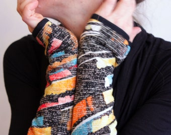 Long woolen mittens mottled Black-Yellow-Orange Blue winter woman Creation