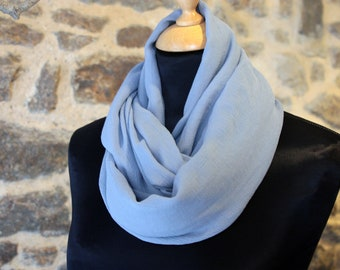 Stole-shawl, blue cart silk Crepe scarf. Silk Snood