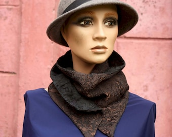 Button collar, Taffetas collar scarf and cotton patterned in floral relief. Autumn scarf collar.