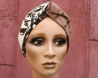 Turban twist bicolore beige Brown and Turquoise Brown White Foliage. Winter woolly woman's headband