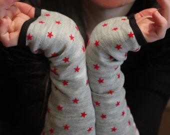Mitten grey star red wool, lined in cotton jersey handmade .mitaine fall/winter