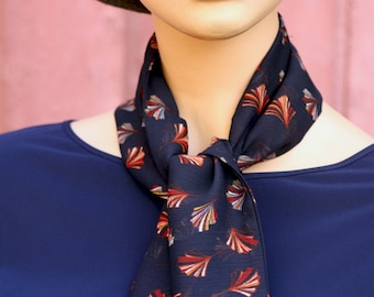 Long scarf and fine Lavallière style or Woman's Tie, Marine Blue with Ginkgo Flowers Rust in Viscose Mossline.