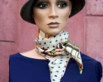 Women's scarf with polka dots and multicolored abstract patterns in chiffon and satin. .  Long and thin scarf.