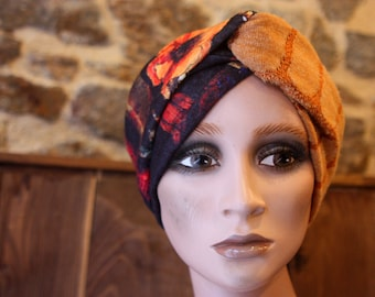 Turban Ocre and ViolinE Flower-style headband in Jersey Lainage. Winter Band Woman Wool Tartine