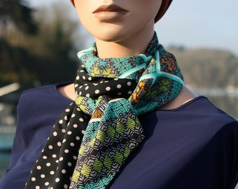 Black woman's scarf with polka dots and ethnic patterns in cotton veil and viscose crepe,Lavallière