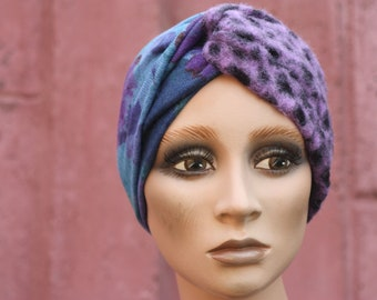 Turban-style headband in Jersey Wool Violet and Blue. Winter Bandeau Women's Purple Felted Wool