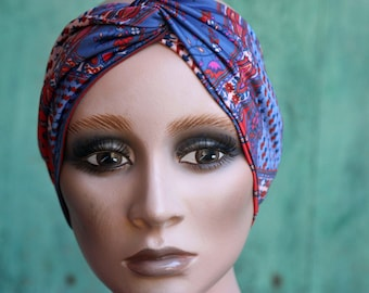 Bandeau-Turban woman Violet and orange patterns Cashmere Fleuris. Headband in Lycra jersey.