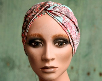 Headband-Turban patterned Cashmere Rose Coral and Light Blue in stretch fabrics. Headband original hairstyle in Lycra.