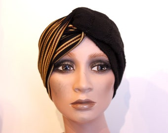 Headband black and gold stripes. Wool and Lycra. Turban twist hair woman. Slice of wool. Gift idea for woman
