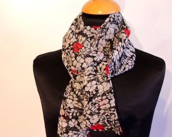 Scarf, Ascot, tie woman with flowers black-white-red, viscose chiffon. Slice of wool