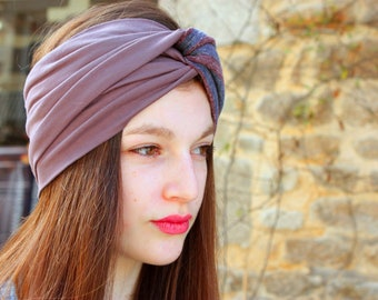 Two-tone headband Turban headband Brown-purple and striped Heather grey-purple. Retro Turban headdress. Slice of wool