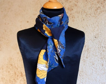 Scarf woman flowers yellow blue Viscose veil. Slice of wool. Thin scarf