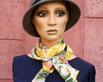 Long scarf , retro woman lavallière with Yellow Flowers- Green Art Deco style in Viscose and Cotton. Light scarf.