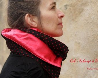 Doudou neck-scarf with Peas, Black and Red. Soft collar, black and red wool scarf. Wool Tartine