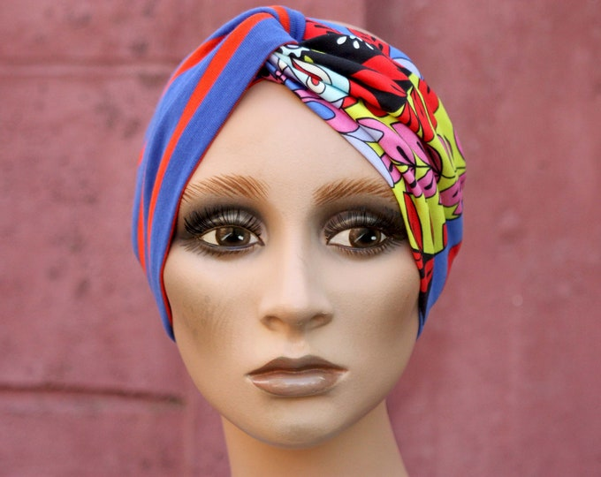 Featured listing image: Bandeau-Turban Stripe Marin and Multicolored Patterns in Jersey Cotton. Headband Yoga .