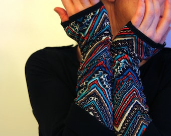 Long Mitaine or Short Patterned Blue Orange, cotton jersey. Women's mitt gloves.