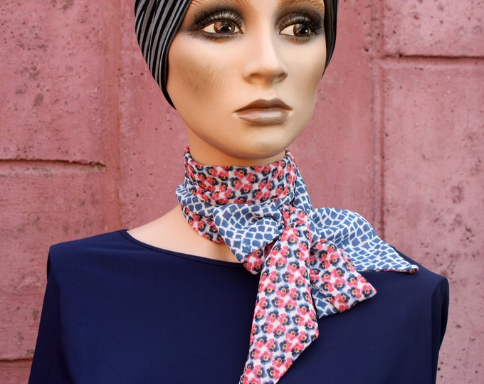 Featured listing image: Scarf, Lavallière, White Spotted Blue Woman Tie and Rose Flowers in Viscose Mousseline.Nœud Butterfly Woman