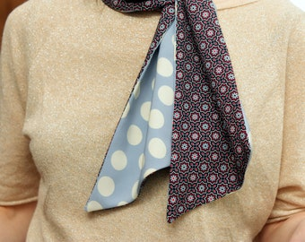 Ascot tie scarf blue white cream dots, and rose. Scarf woman retro style