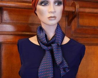Scarf, Ascot, tie women, Satin Blue with polka dots pink raspberry retro tie. Slice of wool