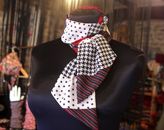 Woman black and white polka dots and Hounds red taffeta and satin scarf. Slice of wool