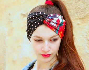 Headband, Turban, Coiffure Rétro Bicolore Pois et Design Floral en Viscose et Jersey coton