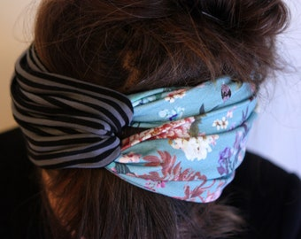 Headband-Turban headband style Retro bicolor blue flowers and cranes, striped black and gray