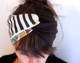 Headband headband-Turban style Retro bicolor Brown and white Turquoise Brown foliage