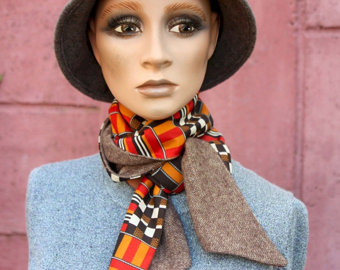 Featured listing image: Winter scarf, orange-black-white checkerboard scarf and Chevron Brown wool. Look Retro Fine Wool Scarf.