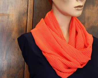 Snood scarf - red with white stitch Viscose chiffon scarf. Wool scarf Snood Creation bread