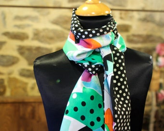 Scarf, Ascot, black two-tone white polka dots and multicolor graphic green. Slice of wool