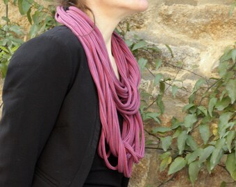 Necklace MULTISTRAND Roll Up - Jersey cotton in Pink-Purple striped scarf. Slice of wool