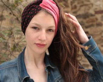 Retro, vintage polka dot viscose hair and Jersey headband. Turban fabric woman.