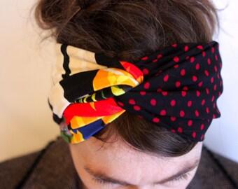 Retro black two-tone Jersey and Viscose red polka dots hair Turban headband