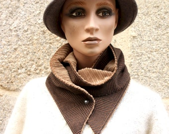 Button collar, Prince de Galle Brown and Black collar scarf, cotton and wool. Male-Female Winter Scarf Collar /Woman