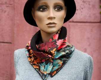 Button collar, velvet scarf printed Floral patterns and Black Wool Drape.