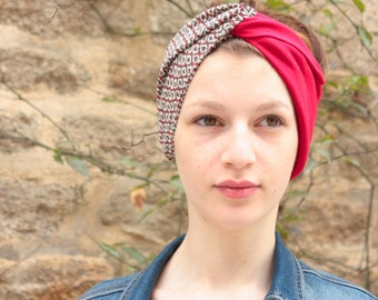 Headband-Turban hair Retro gray patterned Baroque and Jersey Red. Wide headband