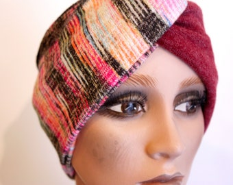 Turban Bordeaux Chiné Rose Yellow Grey in Jersey Lainage . Winter Band Woman Wool Tartine