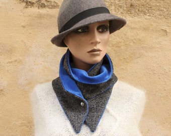 Button collar, collar scarf In Wool and Velvet Drape, Chevron Silver Black Grey and Blue Velvet. Winter scarf collar.