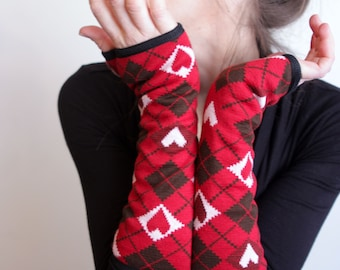 Mitten cuff Jacquard knit red heart. Jersey cotton