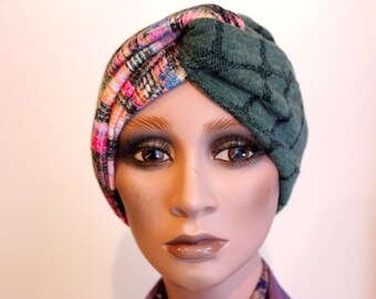 Turban Green and Chiné Rose Yellow Grey in Jersey Lainage . Winter Band Woman Wool Tartine