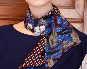 Scarf woman Japanese blue floral and striped red-black Acetate and Satin. Slice of wool